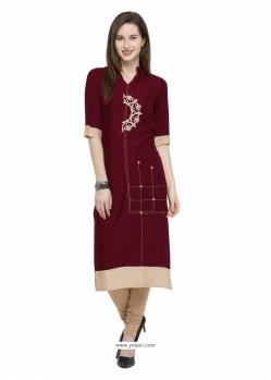 Ravishing Maroon Designer Readymade Kurti