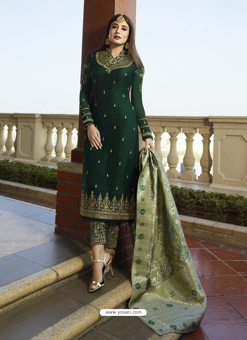 e091668f9a Buy Fabulous Dark Green Embroidered Straight Salwar Suit | Straight ...