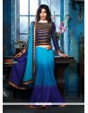 Splendid Blue Shaded Chiffon Party Wear Saree