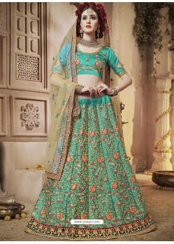 Classy Jade Green Heavy Embroidered Wedding Lehenga Choli