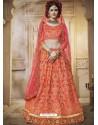Classy Orange Heavy Embroidered Wedding Lehenga Choli