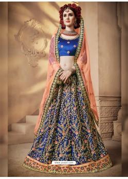 Classy Royal Blue Heavy Embroidered Wedding Lehenga Choli