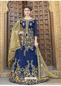 Classy Royal Blue Heavy Embroidered Wedding Lehenga