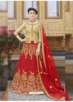 Classy Red Heavy Embroidered Wedding Lehenga