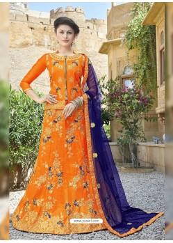 Classy Orange Heavy Embroidered Wedding Lehenga