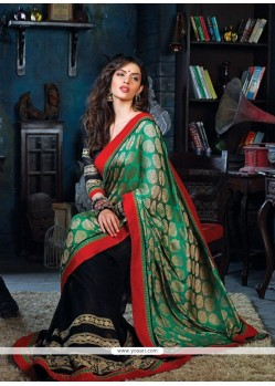 Green And Black Embroidery Work Designer Saree