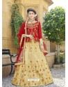Classy Beige Heavy Embroidered Wedding Lehenga