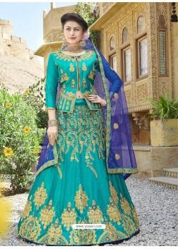 Classy Firozi Heavy Embroidered Wedding Lehenga