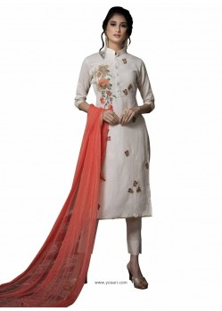 Fabulous Off White Embroidered Straight Salwar Suit