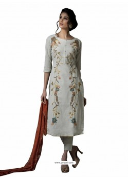 Ravishing Light Grey Embroidered Straight Salwar Suit