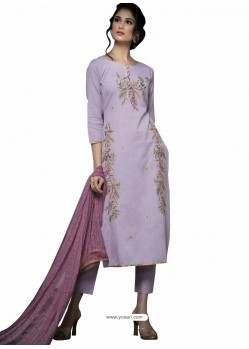 Trendy Mauve Embroidered Straight Salwar Suit
