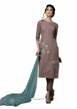 Trendy Light Brown Embroidered Straight Salwar Suit