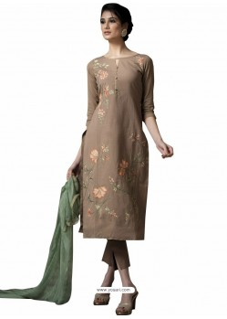 Trendy Camel Embroidered Straight Salwar Suit