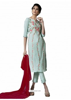 Trendy Sky Blue Embroidered Straight Salwar Suit