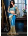 Stylish Blue Satin Party Wear Saree