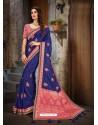 Classy Royal Blue Art Silk Embroidered Sari