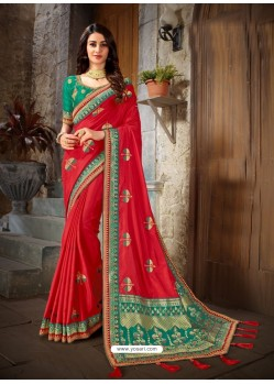 Classy Red Art Silk Embroidered Sari