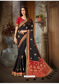 Awesome Black Art Silk Embroidered Sari