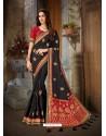 Awesome Black Art Silk Embroidered Sari