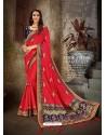 Classy Red Art Silk Embroidered Sari