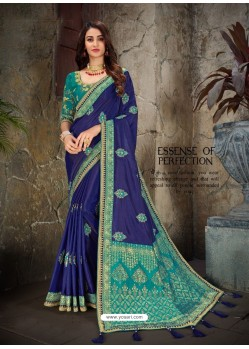 Trendy Royal Blue Art Silk Embroidered Sari