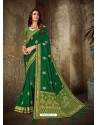 Trendy Forest Green Art Silk Embroidered Sari