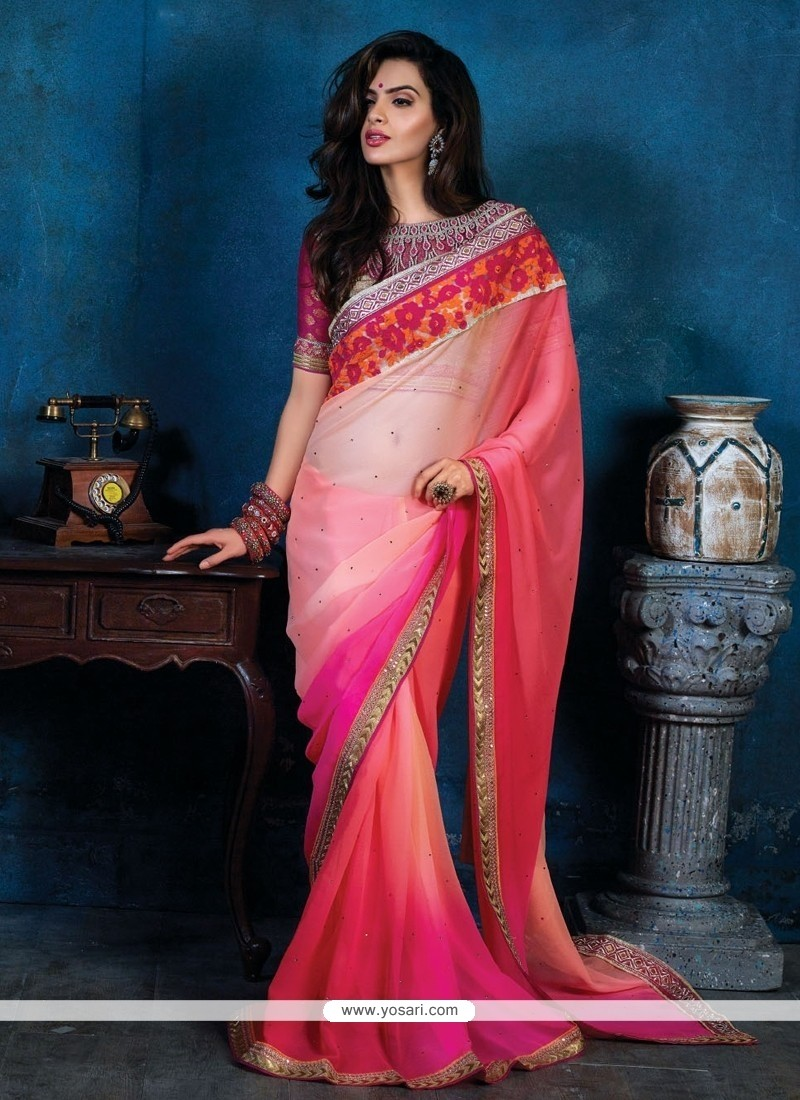 Flashy Pink Shaded Chiffon Party Wear Saree