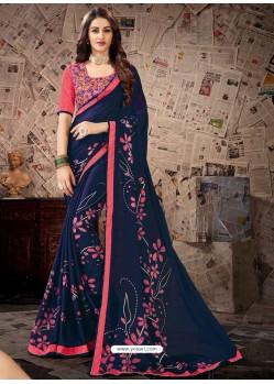 Awesome Navy Blue Designer Georgette Sari