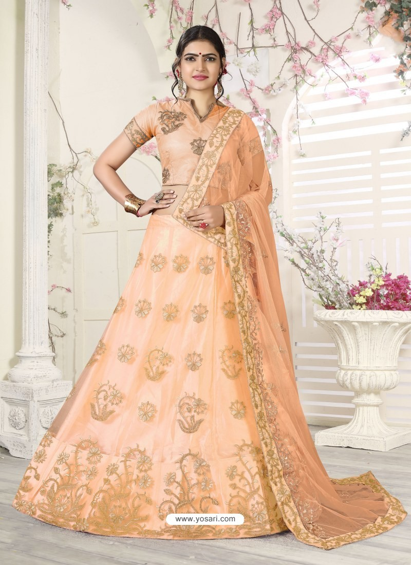 2fc8a2ec05 Buy Fabulous Peach Heavy Embroidered Wedding Lehenga | Wedding Lehenga