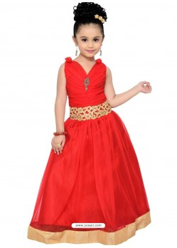 Glossy Red Party Wear Gown for Girls