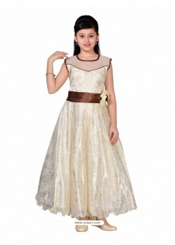 Trendy Off White Party Wear Gown for Girls