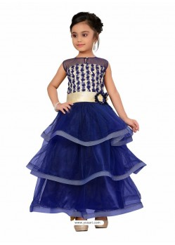 Sizzling Royal Blue Party Wear Gown for Girls