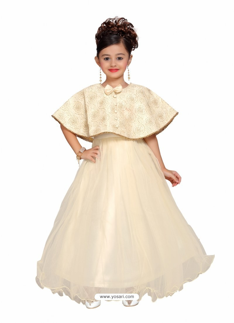 Glossy Off White Party Wear Gown for Girls