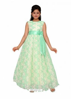 Glossy White Party Wear Gown for Girls