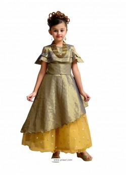 Glossy Silver Party Wear Gown for Girls