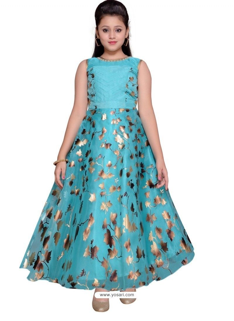 Glossy Sky Blue Party Wear Gown for Girls