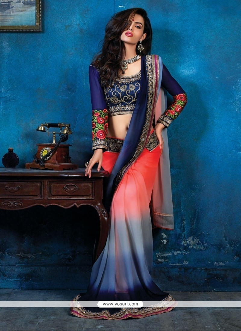 Pleasing Grey Shaded Bamber Casual Saree
