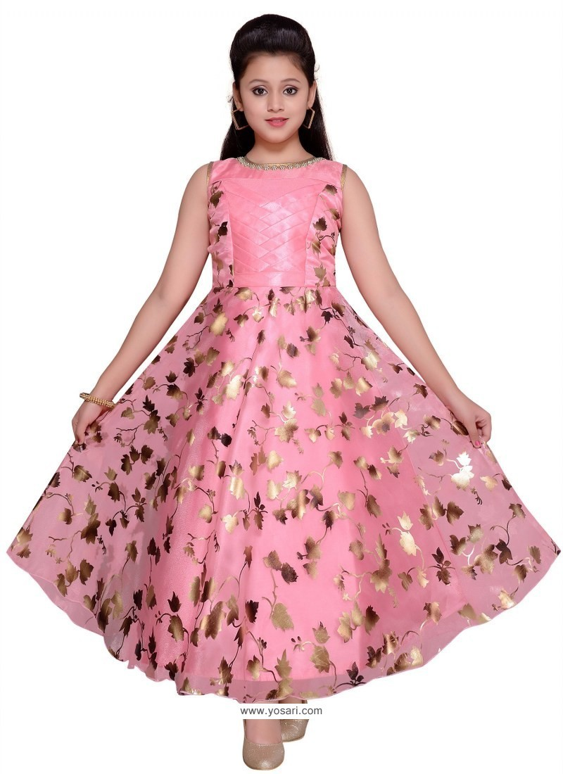 Glossy Pink Party Wear Gown for Girls