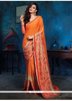 Elegant Orange Satin Silk Designer Saree
