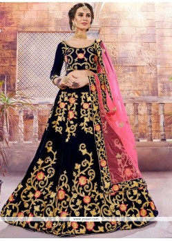 Buy Velvet Navy Blue Designer Lehenga Choli