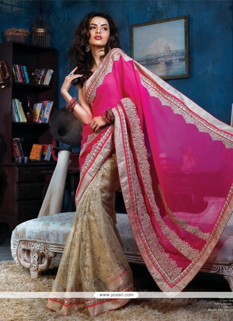 Pleasant Pink And Beige Georgette Designer Saree