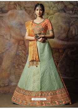 Scintillating Aqua Grey Heavy Embroidered Wedding Lehenga Choli