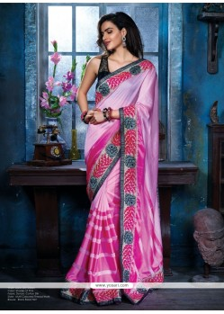 Classy Pink Cotton Silk Party Wear Saree