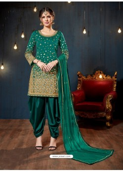 Ravishing Aqua Mint Embroidered Punjabi Patiala Suits