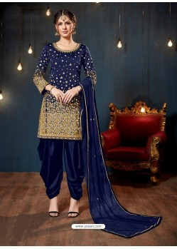 Trendy Navy Blue Embroidered Punjabi Patiala Suits