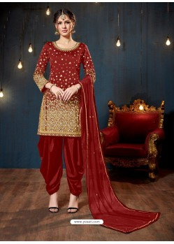 Ravishing Maroon Embroidered Punjabi Patiala Suits