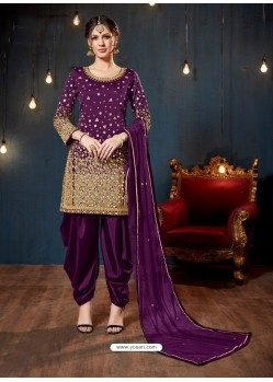 Trendy Purple Embroidered Punjabi Patiala Suits