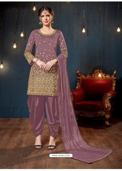 Ravishing Mauve Embroidered Punjabi Patiala Suits