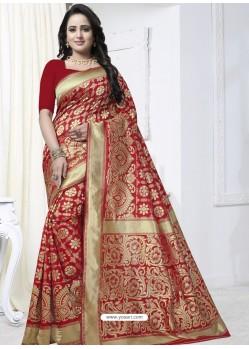 Awesome Red Designer Banarasi Silk Sari
