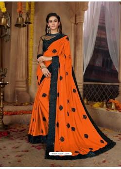 Trendy Orange Designer Georgette Sari